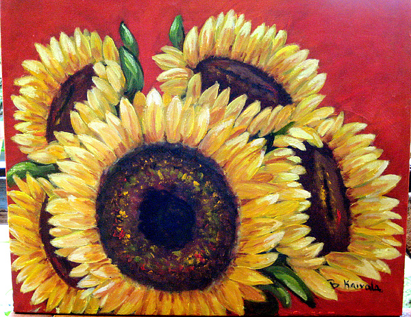 Flowers Painting - Sunflowers by William Kairala