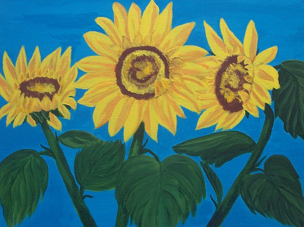 Yellow Flower Painting - Sunflowers3 by Elizabeth Janus