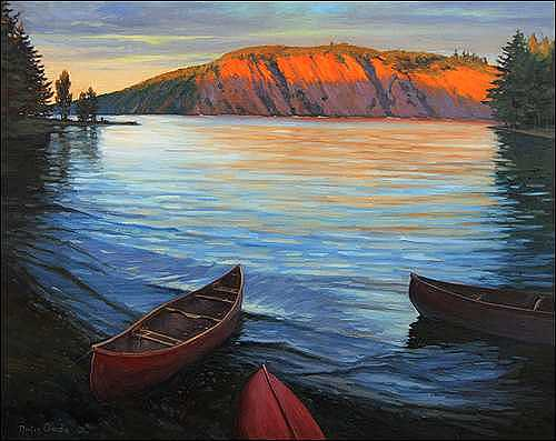 Bon Echo Painting - Sunlit Cliff - Bon Echo Ontario by Dmitry Oivadis