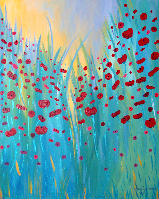 Poppies Painting - Sunlit Poppies by Stacey Zimmerman