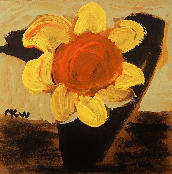 Flower Painting - Sunny And Black by Mary Carol Williams