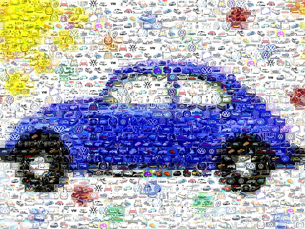 Vw Bug Digital Art - Sunny Blue Vw Bug Mosaic by Paul Van Scott
