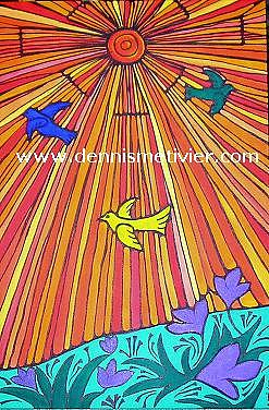 Birds Painting - Sunny Day by Dennis  Metivier