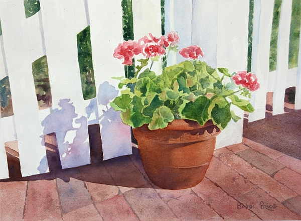 Original Watercolor Painting - Sunny Day Geraniums by Bobbi Price