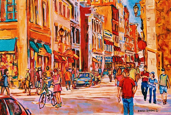 Streetscenes Painting - Sunny Downtown  by Carole Spandau