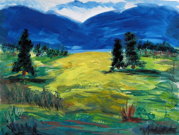 Landscape Painting - Sunny Field by Mary Carol Williams