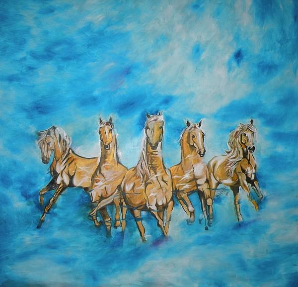 Horses Painting - Sunrise by Chandana Paravastu