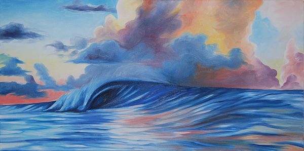 Surf Painting - Sunrise Surf by Katherine  Fyall