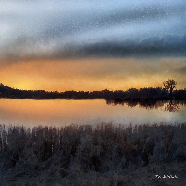 Landscape Painting - Sunrise On A Frosty Marsh by RC deWinter