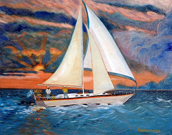 Yacht Painting - Sunset And Yacht by Kostas Koutsoukanidis