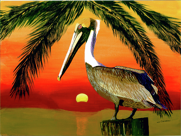 Pelican Painting - Sunset At The Beach by William Demboski