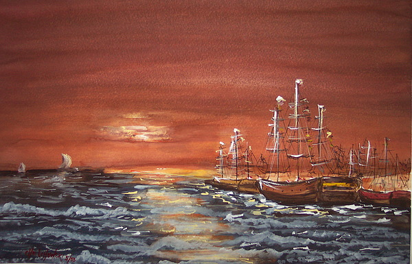 Sunset At The Harbor Painting by Miroslaw  Chelchowski