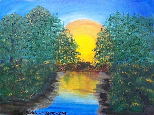 River Painting - Sunset By The River by Elizabeth Janus