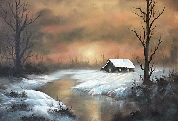 Sunset Cabin  Painting by Paintings by Justin Wozniak