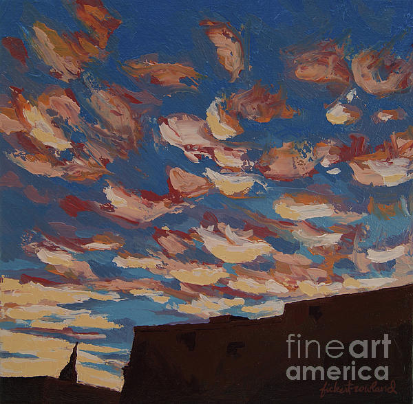 Santa Fe Painting - Sunset Clouds Over Santa Fe by Erin Fickert-Rowland
