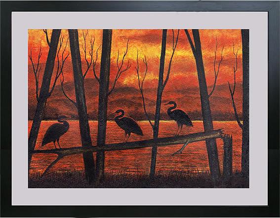 Cranes Painting - Sunset Cranes by Sam Joseph