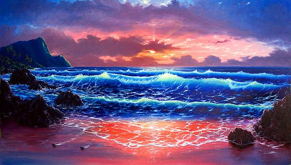 Sea Painting - Sunset by Daniel Bergren