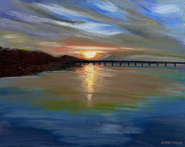 Sunset Painting - Sunset From The Big Dam Bridge by Cathy France