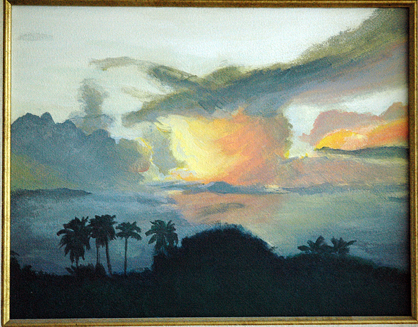 Landscape Painting - Sunset In Las Piedras by Tito Santiago