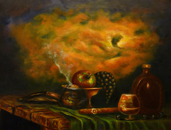 Cigar Painting - Sunset In The Country by MM Zurahov