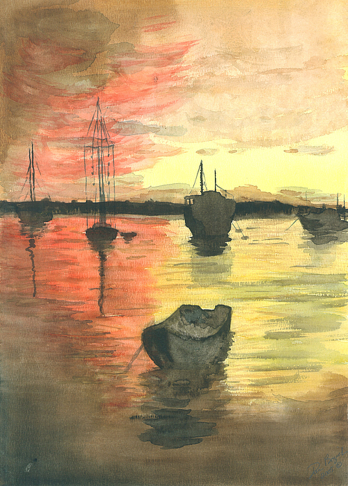 Boats Painting - Sunset Lagoon by Dan Bozich
