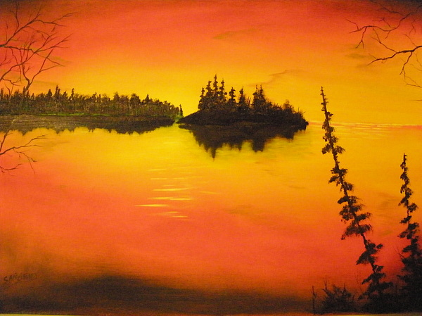 Sunset Painting - Sunset Lake1 by Ron Sargent