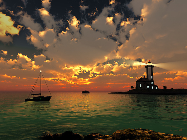 Sunset Digital Art - Sunset Lighthouse by Jim Coe