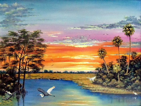 Art Work Painting - Sunset On The Glades by Riley Geddings