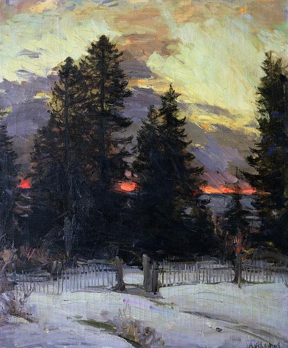 Sunset Painting - Sunset Over A Winter Landscape by Abram Efimovich Arkhipov