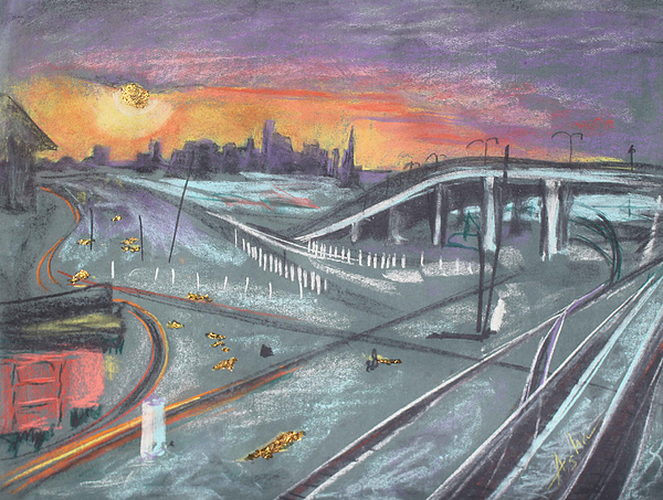 Urban Landscape Painting - Sunset Over San Francisco And Oakland Train Tracks by Asha Carolyn Young