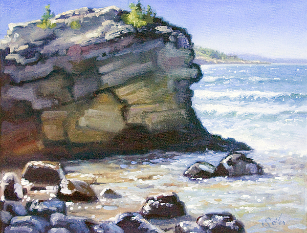 Sunset Point Presque Isle Park Lake Superior Painting By Larry Seiler - Superior painting