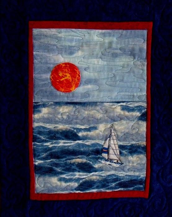 Sunset Tapestry - Textile - Sunset Sail by Maureen Wartski