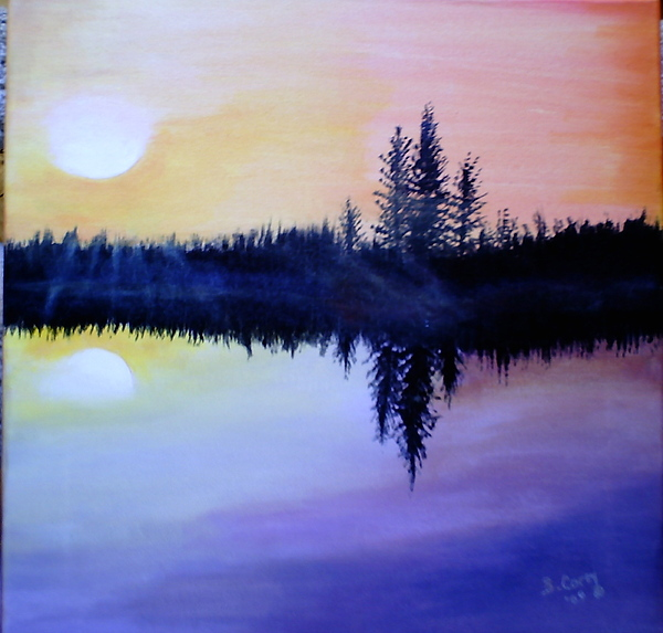 Landscape Painting - Sunset Serenity by Beverley Corey