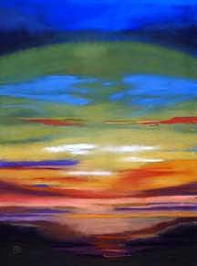 Blue Painting - Sunset Symphony by Judith DAgostino