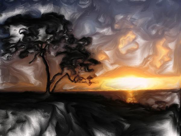 Sunset Digital Art - Sunset With Tree by Mark Denham