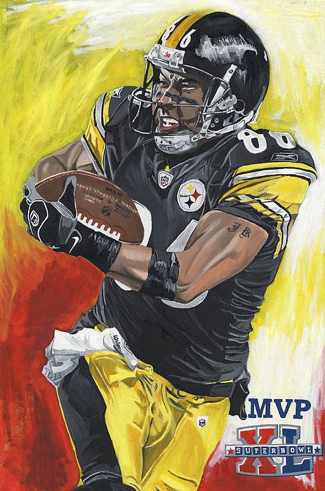 Super Bowl Mvp Hines Ward Painting by David Courson