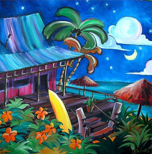 Tropical Painting - Surf Shack by Jerri Grindle