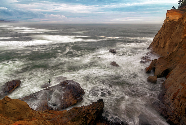 Surfer Photograph - Surfer At Cape Kiwanda In Pacific City by David Gn