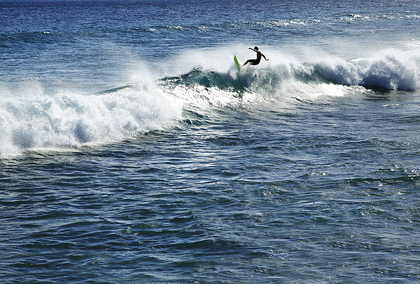 Adrenaline Photograph - Surfer Riding A Wave by Brandon Tabiolo - Printscapes