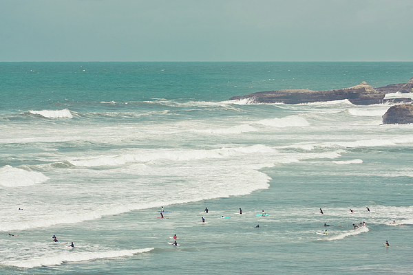 Horizontal Photograph - Surfers Lying In Ocean by Cindy Prins