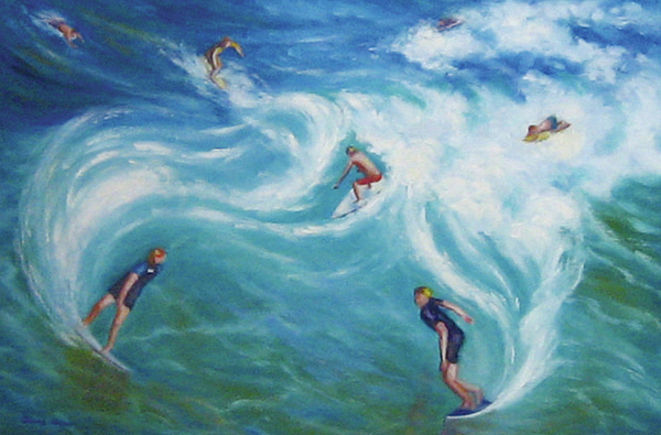 Surfing Painting - Surfing by Diane Quee