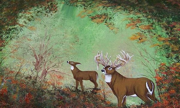 Buck Painting - Surreal Deer by Jena Gillam