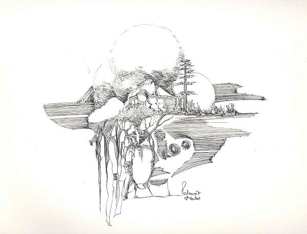 Rocks Drawing - Surrealscape 4 by Padamvir Singh