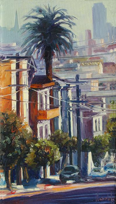 Cityscape Painting - Post Street by Rick Nederlof