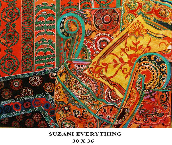 Uzekistan Etc Willl Blow Brains The Work Painting - Suzani Everything by Linda Arthurs