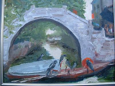China Painting - Suzhou Fishing Boat by Bryan Alexander