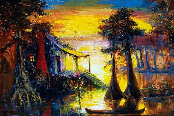 Swamp Painting - Swamp Sunset by Saundra Bolen Samuel