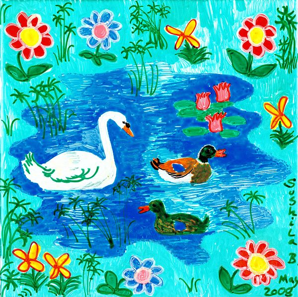 Sue Burgess Painting - Swan And Two Ducks by Sushila Burgess