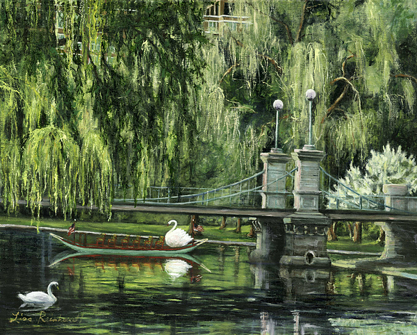 Boston Painting - Swan Boats by Lisa Reinhardt
