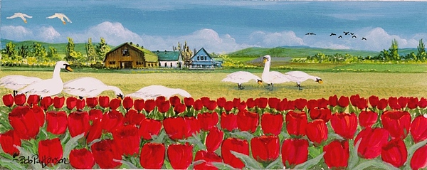 Landscape Painting - Swans And Tulips by Bob Patterson